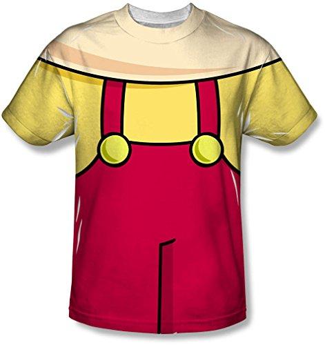 Family Guy - Herren Stewie Kostüm-T-Shirt, X-Large, White (Peter Griffin Kostüm)