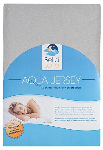 Bella luna ® aquajersey drap-housse pour matelas à eau et matelas boxspring et les matelas grande taille en 4 tailles et de 28 couleurs, Coton, graphit/hellgrau, 140-160 x 200-220 cm