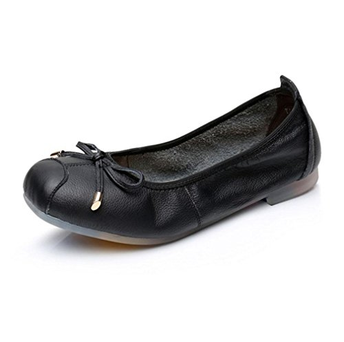 Wywq Ballerines Pour Femmes Square Head Shallow Mouth Bowknot Involtini Noir