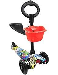 Patinete PLEGABLE con 3 ruedas para niños de entre 2 y 6 años TWIST & ROLL. AJUSTABLE REFORZADO en aluminio – CON SISTEMA DE DIRECCION PATENTADO
