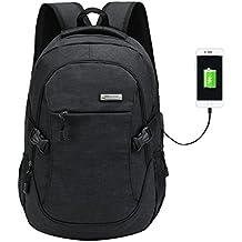 Mochila escolar de nailon, con puerto de carga USB, para portátil y deportes, para adolescentes, hombre, negro, Large