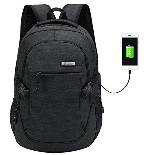 Preisvergleich Produktbild Super moderner Unisex Nylon-Rucksack mit USB-Ladegerät-Port,  Laptoptasche für Mädchen,  Sport-Rucksack Größe L Schwarz