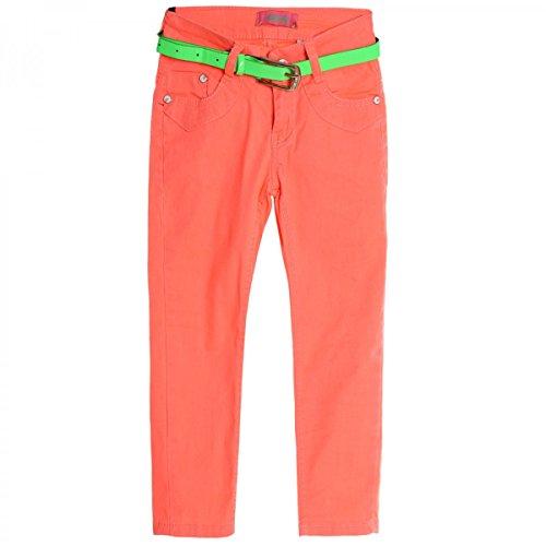 BEZLIT Mädchen Kinder Jeans Hose Röhre Straight Fit Stretch Bootcut Gürtel 20321 Orange Größe 140