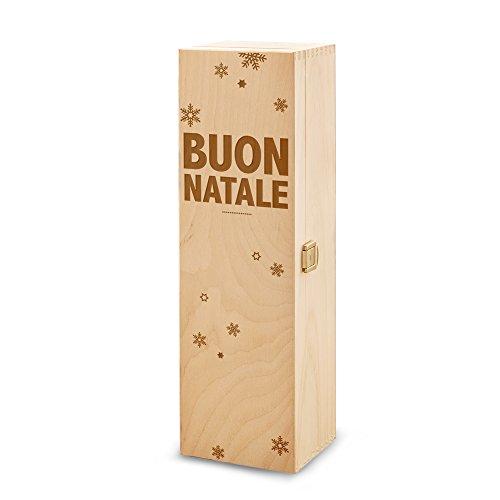 Scatola portabottiglie - In legno - Confezione per bottiglie di vino - Con incisione - Buon Natale - Fiocchi di neve - Standard