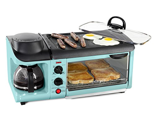 Nostalgia BSET300BLUE Retro Series 3-in-1 Family Size Breakfast Station by...