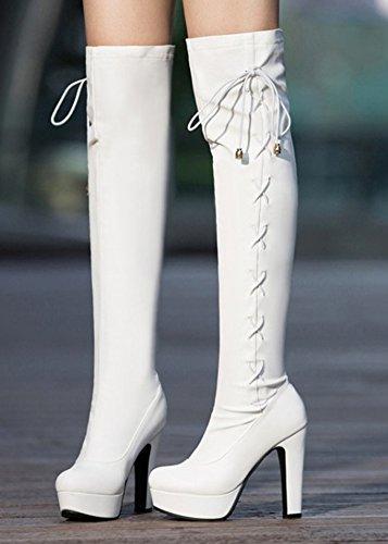Blanc Bottes Femme Haute Aisun Cuissardes Sexy Bout Rond Tige q7xYTTtZ