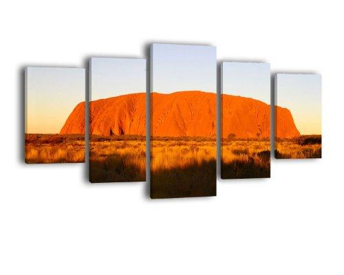 Leinwandbild Ayers ROck Sunset LW149 Wandbild, Bild auf Leinwand, 5 Teile, 210 x 100 cm, Kunstdruck Canvas, XXL Bilder, Keilrahmenbild, fertig aufgespannt, Bild, Holzrahmen, Australien, Outback, Uluru