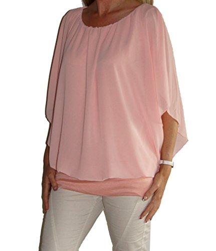 Weit geschnittene Chiffon-Bluse, Rundhals-Ausschnitt, Kurzarm o Langarm, weich unterfüttert, Uni-Größe - 36 bis 46 super Schnitt Apricot