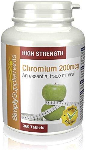 Chrom 200µg - 360 Tabletten - Versorgung für 1 Jahr - Aufrechterhaltung des normalen Blutzuckerspiegels - SimplySupplements