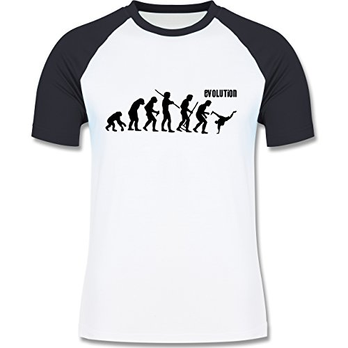 Evolution - Breakdance Evolution - zweifarbiges Baseballshirt für Männer Weiß/Navy Blau