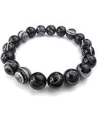 KONOV Joyería Pulsera de hombre, 12mm Natural Energía Piedras Bola, Ágata Ónix, Color blanco negro (con bolsa de regalo)