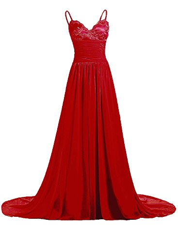 Azbro Women's Elegant Spaghetti Strap Long Prom Dress Dark Red