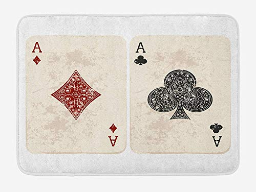Lifestyle Bath Mat, Ace of Diamonds Clubs Poker Cards Game Grunge Gambling Fortune Illustration, Plush Bathroom Decor Mat with Non Slip Backing, 23.6 W X 15.7 W Inches, Cream and Red