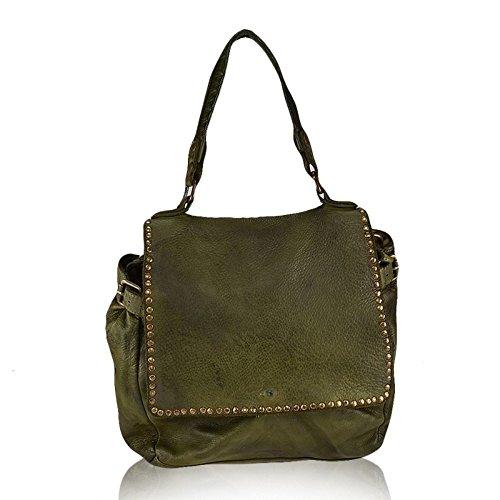 ZETA SHOES Borsa a tracolla spalla donna in vera pelle Vintage made italy MainApps Verde