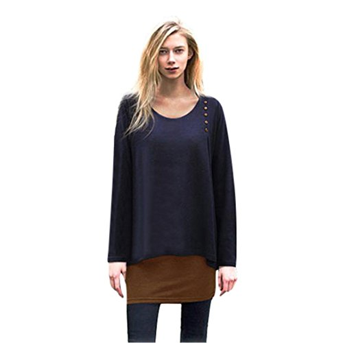 DOLDOA Damen Strickjacke,Frauen Asymmetrie Hem lange Hülse loose Blusen T-Shirt (EU:48, Marine) (Schnee-tage-shirt)