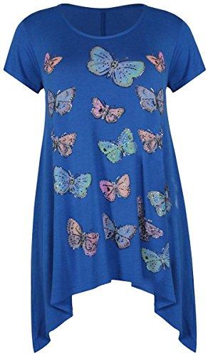 Nouveaux Femmes Grande Taille Hanky swing Hem papillon Tunique Tops 42-56 Royal Blue