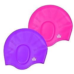 The Friendly Swede Silikon Badekappe 2-er Set mit Ohrenschutz, für Lange Haare - Bademütze, Schwimmkappe, Badehaube (Rosa/Lila)