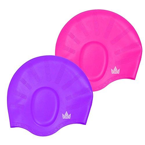 The Friendly Swede Silikon Badekappe 2-er Set mit Ohrenschutz, für Lange Haare - Bademütze, Schwimmkappe, Badehaube