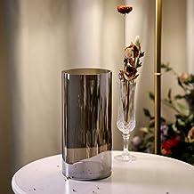 Umi.Essentials Vaso da Fiori  Portafiori in Vetro Soffiato a Bocca Senza Piombo per Addobbo Tavola Cucina Altezza 26cm Grigio