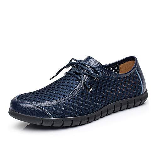 e Für Männer, Stilvolle Schnürschuhe Mesh Breathable Nähende Hohle Sommer-Schuhe Der Mode (Color : Blau, Größe : 42 EU) ()