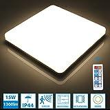 Oeegoo 15W LED Deckenleuchte mit Bewegungsmelder, IP44 Deckenlampe dimmbar mit Fernbedienung, 1300lm 4000K Badlampe, Radar Mikrowellen- Sensorleuchte Für Keller, Garage, Lager, Flur