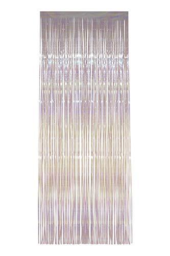 Smiffys Cortina de Flecos Brillantes, Blanco, Iridescente, 91cm x 244cm