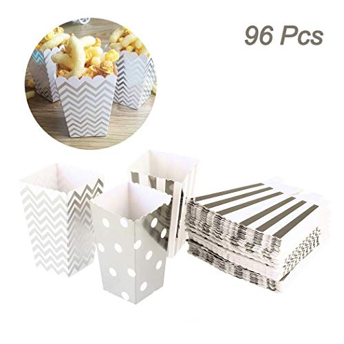 96 Stücke Creatiee Mini Popcorn Boxen, Karton Süßigkeiten Behälter für Geburtstag, Braut und Baby Dusche, Alle Parteien und Veranstaltungen- Zufällig Muster(Silber)