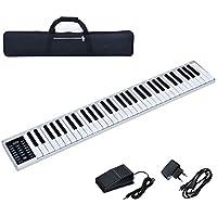 COSTWAY Digitales Piano Keyboard 61 Tasten, tragbares elektronisches Musikinstrument, MIDI Bluetooth, Bedienfeld, Leichtgewicht, Musikgeschenke für Kinder und Anfänger, mit Tragetasche, weiß