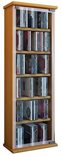 Zubehör Rack-regal (VCM 21023 Regal DVD CD Rack Medienregal Medienschrank Aufbewahrung Holzregal Standregal Möbel Schrank Möbel Buche