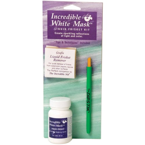 Grafix 8-1/-/Bratenspritze Incredible weiß Maske Liquid Frisket Kit, Dipstik, 2 oz - Paper Pickup Board