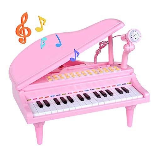 Kids Piano Toy, Klavier für Kinder mit Mikrofon, 31 Knöpfe LED in Weiß und Schwarz, 4 Sonde für Einzelinstrumente, 8 Drums, 3 Modi zum Lernen, Musikspielzeug elektrisch für Kinder -