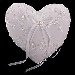Gazechimp Hochzeit Spitze Stickerei Blume Ringkissen Herz Form