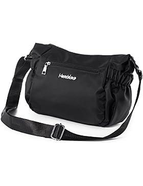 128cb4d1ec4de Katloo Damen Schultertaschen Umhängetasche Handtasche in Nylon mit Viele  Zip Fächer für den Alltag - Schwarz