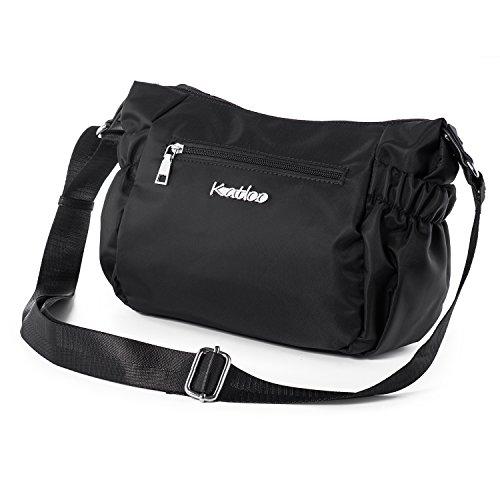 Katloo Nylon Damentasche Damen Leichte Schultertasche Umhängetasche Handtasche Kleine Reisetasche für Frauen mit Viele Zip Fächer für den Alltag - Schwarz (Kleine Schulter-handtasche)