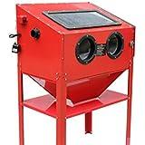 Varan Motors NESB-16D Sandstrahlkabine, Sandstrahler, Profi Sandstrahlkabine mit Sicherheitshandschuhen 220 Liter inkl. Zubehör