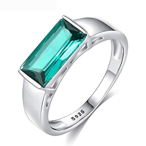 J.MeMi'S Damen Schmuck Ring Smaragd mit Zirkonia 925 Sterling Silber Engagement Schmuck für Hochzeit Geburtstag Geschenk,No.8 (Birthstone Smaragd Ringe)