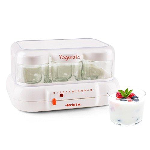 Ariete 85 Yogurella Yogurtiera Elettrica con 6 Vasetti in Vetro, Capacità Totale 1 kg di Yogurt, Bianco