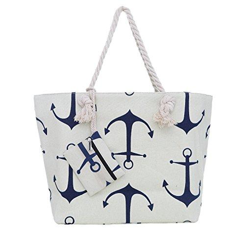 Große Strandtasche mit Reißverschluss 58 x 38 x 18 cm maritimes Design Schiff weiß blau rot Shopper Schultertasche Yacht Style Anker