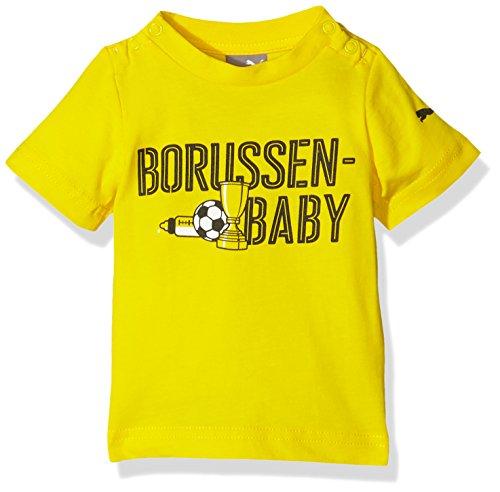PUMA Baby T-Shirt BVB Minicats Graphic Tee, Cyber Yellow-Black, 104