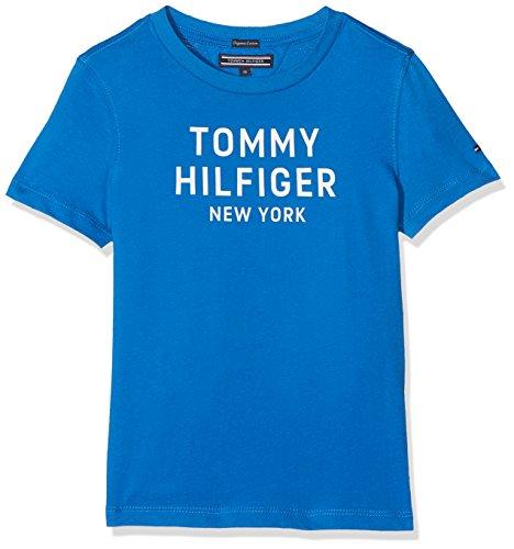 Tommy hilfiger essential big logo tee s/s, t-shirt bambino, blu (strong blue 405), 122 (taglia produttore: 7)