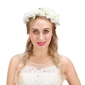 Valdler Corona Floreale Ghirlande di fiori Capelli Elegante con il Nastro Regolabile per Matrimonio Festa