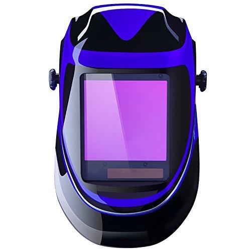 DEKO Casco de soldadura automática por energía solar de profundidad profunda Casco de oscurecimiento automático con pantalla de gama amplia de sombra ajustable 4 / 9-13 para máscara de soldador de soldadura por arco de Mig Tig (azul)