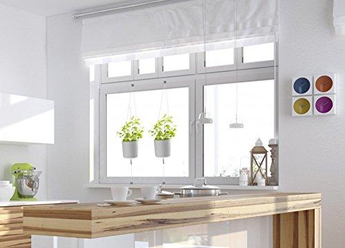 fensterrahmen deko fenster HT Kräuter-Topf 2 Stück weiß Blumentopf Weiss zum Einhängen am Fenster-Rahmen
