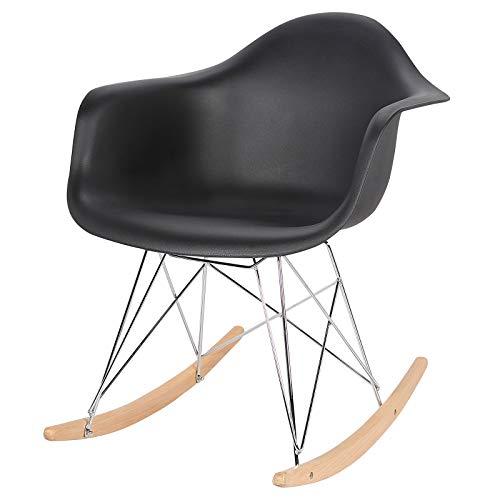eSituro 1X Fauteuil à Bascule,Chaise à Bascule,Fauteuil Relaxant en Plastique de Haute qualité, Structure en métal et Pieds en Bois, RC04