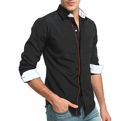 Bestow Camisa de Vestir de Manga Larga de Corte Slim s¨Lido Formal de Oto b49515ad25e32