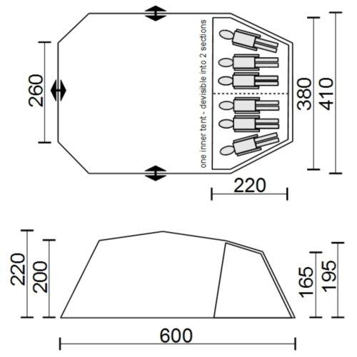 10T Carolina 6 - 6-Personen Multifunktion Geodät-Zelt mit PKW- / SUV-Heckanschluss WS=5000mm -
