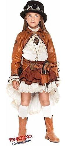 Italian made Deluxe Kinder Viktorianisch Steampunk Halloween Kostüm Kleid Outfit plus Zubehör 3-10 Jahre - Mädchen, 4 years (Steampunk-kostüm Für Kinder-mädchen)