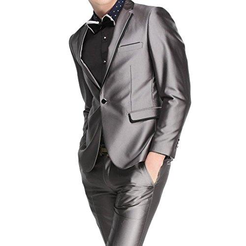 MYS da uomo personalizzata Groomsman Shiny One Button Suit Pants, colore: grigio Grey Su (One Button Wool Blazer)