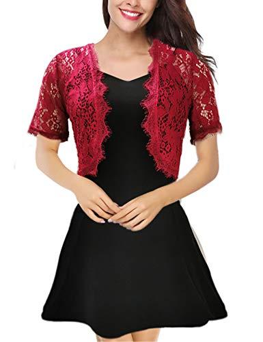 Enjoyoself bolero donna pizzo gilet corto maniche corte elegante matrimonio cardigan vestiti floreale giacca chic shrug estivi per sposa per abito a sospensione