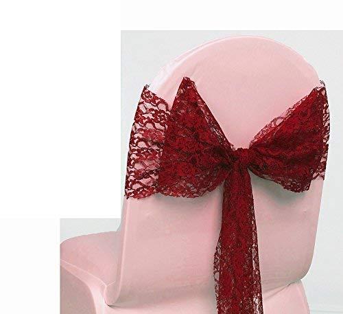 Events n Fabrics Lace Stuhl Bogen Schärpe Krawatte Knoten für Hochzeit Veranstaltung Party Geburtstag Weihnachten Bankett Stuhl Dekoration -1 | Apple ROT